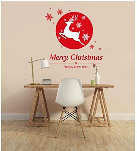 Etiqueta de la pared de moda etiqueta de la decoración de la pared de la tienda de Navidad de cristal de la ventana de Navidad copo de nieve regalo de cervatillo 78x73cm