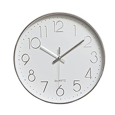 """jomparis Modern 12"""" Battery Operated Non-Ticking Silent Sweep Movement Wall Clock Decorative for Office,Kitchen, Living Room, Bedroom, Bathroom Plastic Frame Glass Cover (Silver,Arabic Numeral)"""