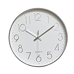 jomparis Modern 12 Battery Operated Non-Ticking Silent Sweep Movement Wall Clock Decorative for Office,Kitchen, Living Room, Bedroom, Bathroom Plastic Frame Glass Cover (Silver,Arabic Numeral)