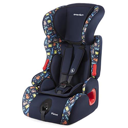 BABYLON silla bebe coche Planet silla de coche grupo 1 2 3, silla de bebe para coche Niños 9-36 kg silla coche bebe(1 a 12 años). silla coche sin isofix ECE R44 /0 azul/impreso gatitos