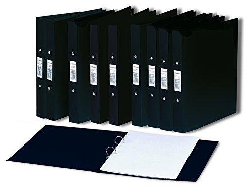 Rexel AZ13422RD - Carpeta de anillas A4, pack de 10 unidades con la columna vertebral de la ventana de entradas, negro