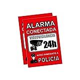 Pegatina alarma securitas | Cartel zona videovigilada adhesivo | Pegatinas Aviso a la Policía | Placa videovigilancia Rojo Interior/Exterior (14,8 x 10,5 cm) (2 Piezas Pegatinas zona videovigilada)