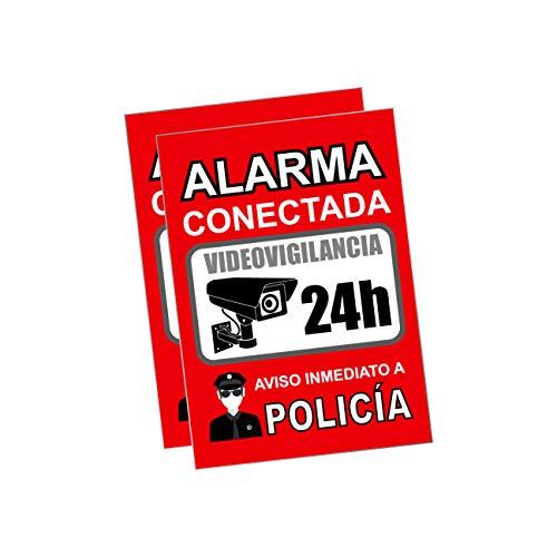 Pegatina alarma securitas - Cartel zona videovigilada adhesivo - Pegatinas Aviso a la Policía - Placa videovigilancia Rojo Interior/Exterior (14,8 x 10,5 cm) (2 Piezas Pegatinas zona videovigilada)