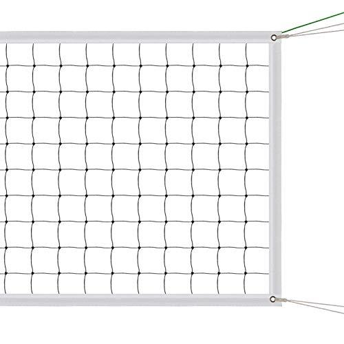 AEUNIV Sport Volleyballnetz Volleyball Ersatznetz Standardgröße (9.5m x 1m) mit Stahlkabel, Verstärkten Seitenbändern für Beach Garden Yard Pool Indoor Outdoor Spiel (nur Netz)