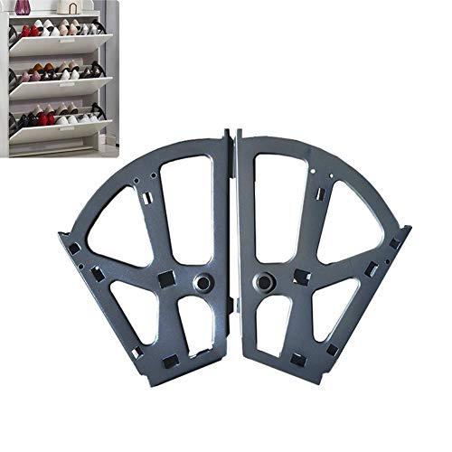 Kippbeschlag für Schuhschränke Schuhablage mit 2-Fächern | Drehbeschlag Kunststoff schwarz | Möbel-Scharnier zum Einbau in Schuh-Regal | 2 Stück - Schließ-Mechanismus für Schubladen & Türen