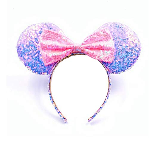 Mouse Ears Bow Headbands Glitter Princess Party Decoration Belle Cinderella Jasmine Mermaid Mouse Ears Headband for Girls (Magic pink and purple)