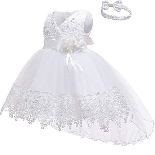 Feestelijke Christening Jurk Baby Meisje Prinses Jurk - kostuumset perfect voor carnaval, bruiloft & speciale gelegenheden - 4 kleuren & 4 maten 6 Months Kleur: wit