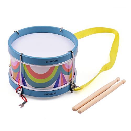 Snaredrum für Kinder,ammoon Tragbares Schlaginstrument für Snare Drum,Kann als Musikspielzeug und Geburtstagsgeschenk mit Trommelstöcken,Gürteln,Stimmgeräten und Schraubenschlüsseln Verwendet Werden
