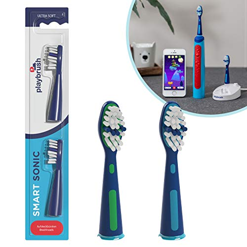 Playbrush Smart Sonic Aufsteckbürsten Original, 2er Pack, MEDIUM, Weißblau