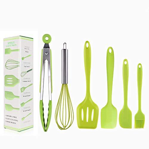 Utensilios cocina profesional,juego de utensilios de cocina de silicona de 6 piezas, espátula, espátula, batidor, cepillo, pinzas para alimentos-verde