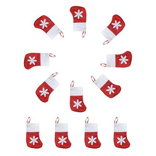 Jentay 12PCS lovely mini calza di Natale per posate da tavola e forcella–portaposate–Decorazioni natalizie