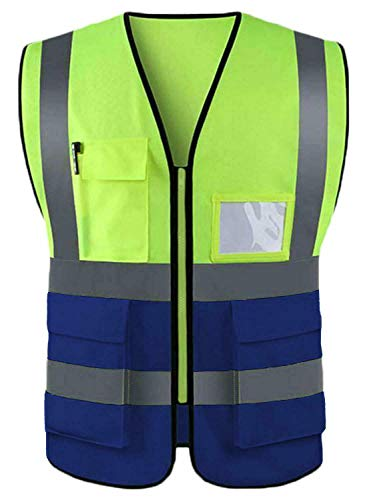 True Gezicht Mannen Hi Vis Werk Cargo Broek Rits Vlieg Bodem Reflecterende Veiligheid Zichtbaarheid Snelweg Werk slijtage Vest Top Beschikbare Maten S, M, L,XL, 2XL, 3XL