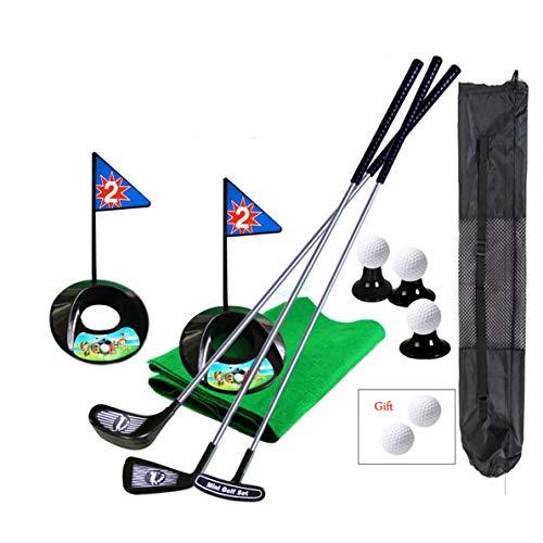 SOWOFA Golf PRO Set Giocattolo per Bambini Bambini Mazze da Golf in Metallo Bandiere Palle per Sport Sport Gioco al Coperto Golf Allenamento 24 Pollici 17 PC con Zaino