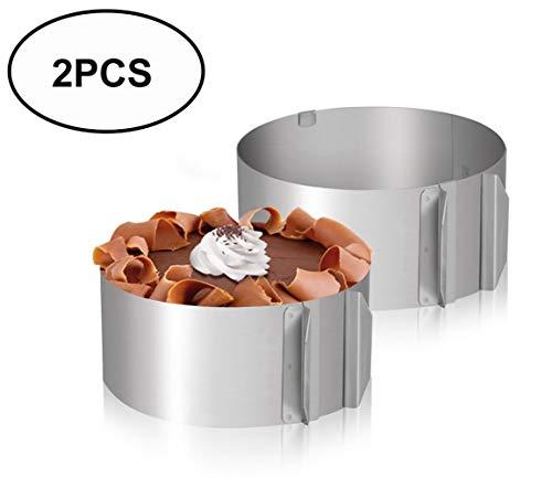 Tebery 2 Stück Tortenring verstellbar aus Edelstahl mit Skalierung Backring verstellbar mit dem variablen Kuchenring gelingen kleine und große Kuchen