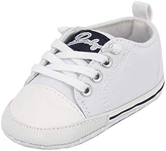 Zapatos para bebé Auxma La Zapatilla de Deporte Antideslizante del Zapato de Lona de la Zapatilla de Deporte para 3-6 6-12 12-18 M (6-12 M, Blanco)