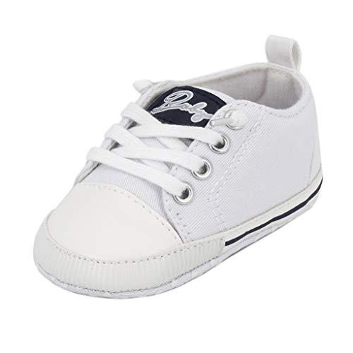 Zapatos para bebé Auxma La Zapatilla de Deporte Antideslizante del Zapato de Lona de la Zapatilla de Deporte para 3-6 6-12 12-18 M (3-6 M, Blanco)