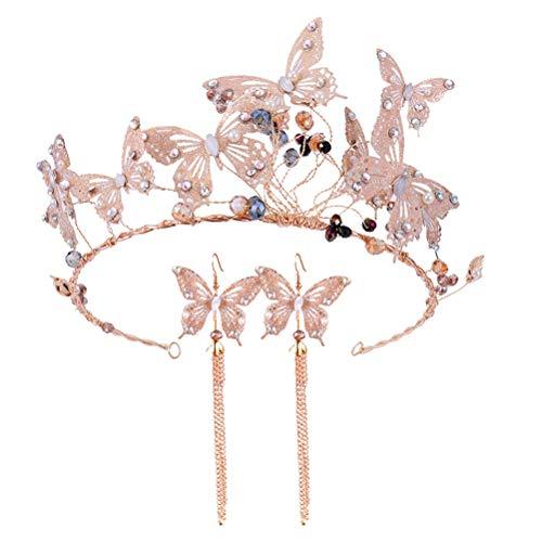 Lurrose Banda para el Pelo de la Boda Pendientes de Corona de Mariposa de Cristal fijados para el Pelo del Tocado de la Boda para Las Mujeres niñas