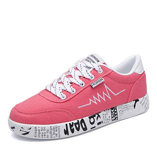 Moda Mujer Zapatos vulcanizados Transpirables con Cordones Zapatos Casuales Lienzo Graffiti Plana para Mujer Zapatillas de Deporte