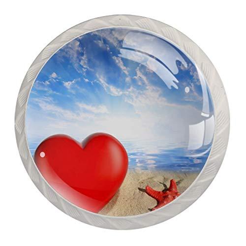 Perillas decorativas para armarios y muebles de armario, con forma de estrella de mar, diseño de corazón y playa