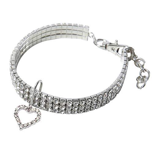 Smniao Hundehalsband Haustier Halsbänder Strass Herz Geformt Halskette Haustierzubehör Hund Halsband für Kleine Hunde Katzen Welpen (L, Weiß)