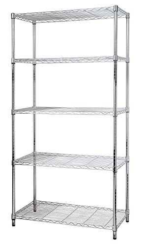 eeZe Rack ETI-003 Heavy Duty Steel Wire Chrome Shelving, Storage Rack, NSF Certified, 36x18x72-inches 5-Tier (Chrome) (New) New Jersey