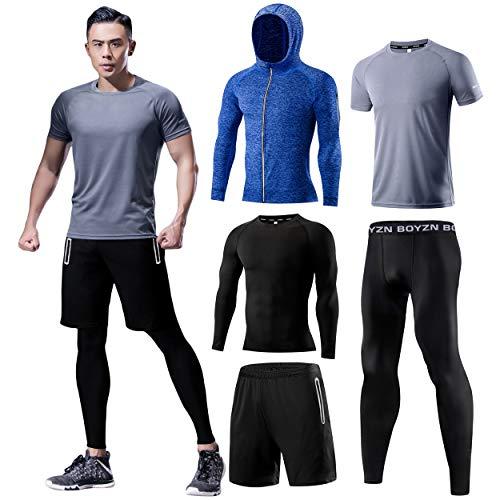 スポーツウェア メンズ コンプレッションウェア セット 吸汗 速乾 トレーニングウェア 長袖 半袖 ランニングウェア 姿勢矯正 メンズ ジャージ 上下セット 5点セット グレー Gray-5P-L