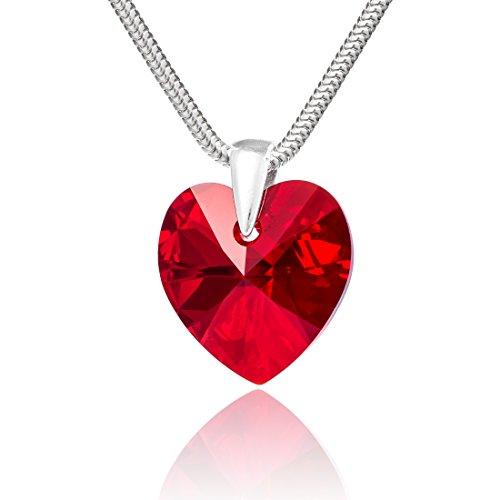 LillyMarie Damen Kette Sterlingsilber 925 Swarovski Elements Herz rot Längen-verstellbar Schmucketui Geschenke für Mama