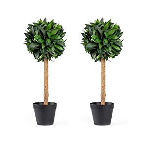 Velener 2′ Silk Artificial Boxwood Topiary Ball Tree in Pot for Indoor Home Decor (Set of 2)