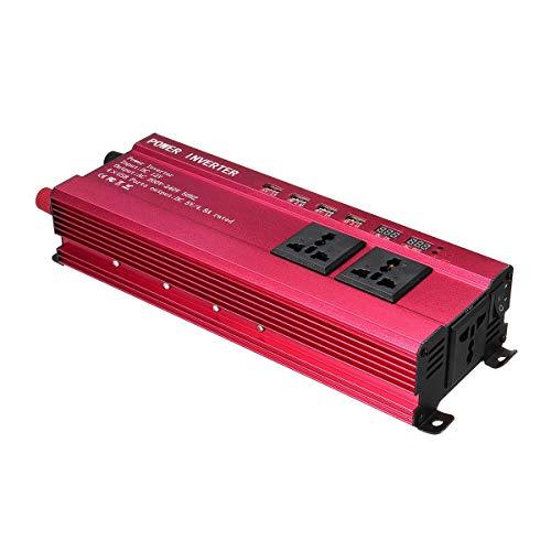 Potencia Pico 2000W Coche Inversor de Energia, DC 12V/24V a AC 220V Convertidor de Voltaje Inversor de Onda Sinusoidal Modificada, LED Monitor, con 3 AC Enchufes y 4 Puertos USB, para Casa y Coche