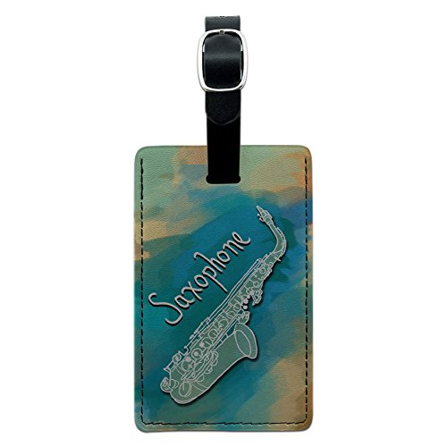 Graphics & More Saxophone Instrument Music Woodwind Leather Luggage Id Tag Suitcase, Black