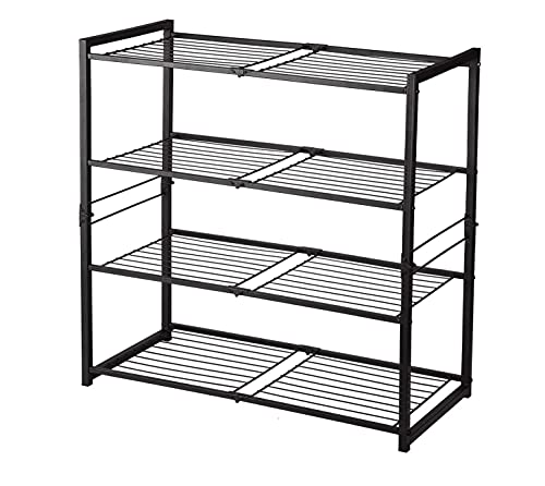Canby Zapatero de metal (4 estantes), color gris oscuro