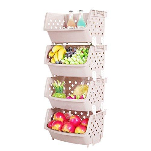 Lot de 4 boîtes de rangement empilables en plastique pour fruits et légumes TXXCI - Bacs de rangement polyvalents pour articles divers de cuisine, Plastique, kaki, 35.8*31.2*22cm