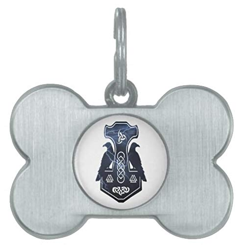 Personalized Pet Tags for Dogs and Cats,Custom Pet ID Tags, Lightning Thor's Hammer Dog Tag Pet Gifts - Bone Stainless Steel