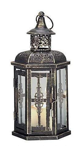 JHY DESIGN Decorative Lanterns-10inch High Vintage Style Hanging Lantern, Metal Candleholder for Indoor Outdoor, Events, Parities and Weddings(Black with Gold Brush)