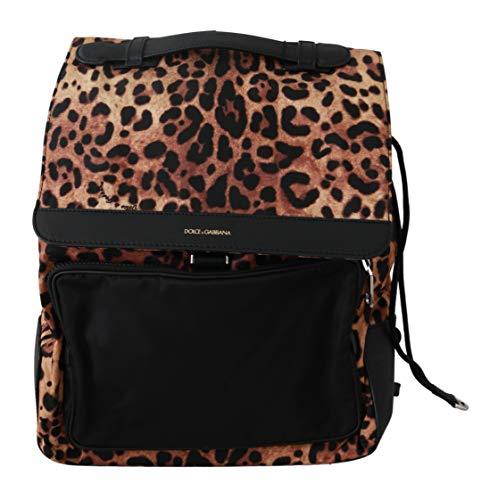 Dolce & Gabbana - - All - Leopard Print School Drawstring Leather Backpack - Default Title