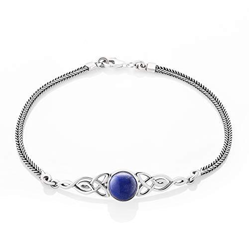 SUVANI Sterling Silver Lapis Lazuli Celtic Trinity Knot Triquetra Triskelion Charm Bracelet 8''