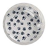 Perillas de impresión de pata de perro para gabinetes de cocina de 1,18 pulgadas, botones de cristal para cajones (juego de 4)