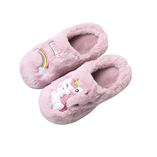HommyFine - Pantuflas de invierno de algodón, antideslizantes, cálidas, zapatillas con diseño de unicornio para niña, Morado (morado), 28/29 EU