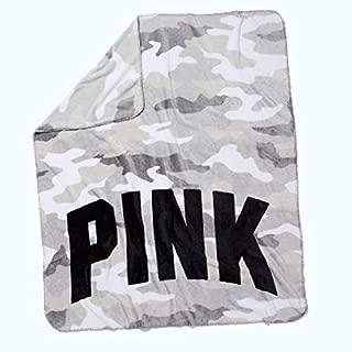 Victoria's Secret Pink Soft Fleece Blanket, White Gray Camo