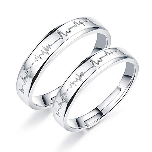 EQLEF Heartbeat Ring, 1 set Electrocardiogram Promise Rings Couples Open Adjusted Ring for Wedding Bands Engagement Rings