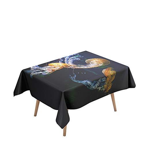 Morbuy Tovaglia Idrorepellente Rettangolare, 3D Medusa Stampa Eleganti Tovaglie Impermeabile Antimacchia Copritavolo per Decorative Cucina Giardino Compleanno (Modello di Meduse,140x180cm)