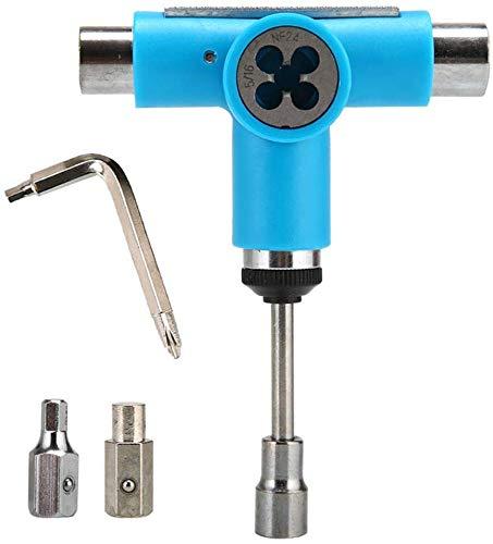 Skateboard T Werkzeug, Multifunktional Tragbar T Werkzeug Skating Werkzeugset Nutzen mit Ratsche T-Schlüssel Skating Werkzeug Reparaturset - Blau
