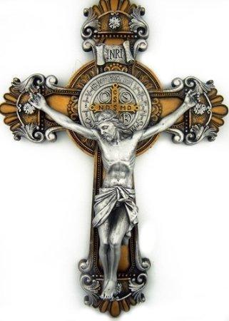 St. Saint Benedict Cross Crucifix Medal 2 Tone Wall 10'