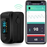 Pulse Oximeter Bluetooth Blood Oxygen Saturation Monitor, Pulse Rate Monitor for Apple and Android with 2 AAA Batteries Lanyard