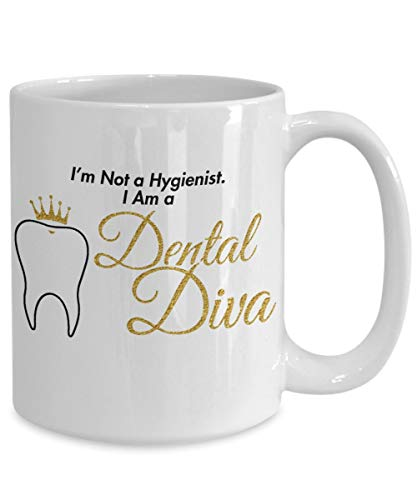 Taza de café higiénica dental, divertida diva dental, regalo de broma para graduación, cumpleaños, jubilación, vacaciones, taza de cerámica de 325 ml