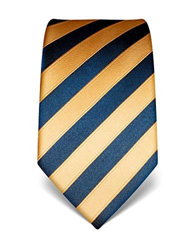 Vincenzo Boretti Herren Krawatte reine Seide gestreift edel Männer-Design zum Hemd mit Anzug für Business Hochzeit 8 cm schmal/breit gold/dunkelblau