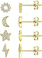 ✨【Minimalistic Stud Earrings】: Milacolato Devote To Offer Every Customers Stylish & High Quality Earrings. Four Style Stud Earrings Meet You Daily Needs, Perfect Match With All Kinds Of Hairstyle And Complexion, 925 Sterling Silver And Sparkly Cubic ...