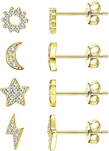Milacolato 4 pares Pendientes Mujer Plata Pequeños de Ley 925, Oro de 14 quilates/Oro Blanco/Chapado en Oro Amarillo Delicados Pendientes de circonita cúbica Pendientes de Estrella y Luna