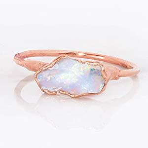 Dainty Stackable Raw Opal Ring, Rose Gold, October Birthstone
