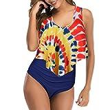 Vertvie - Bañador de 2 piezas para mujer, playa, bikini con volantes, estilo vintage, bañador acolchado push up, camiseta de tirantes corto, tanga de cintura alta A-tie Dye L